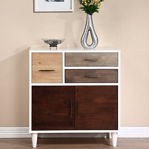 Mid Century Wood Entry Accent Storage Cabinet Sofa Table with Stainless Steel Handles in Multi Tone Wood and White Finish – Includes Modhaus Living Pen
