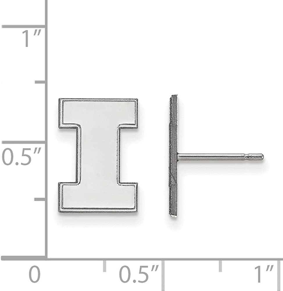 Collegiate University of Illinois Sterling Silver LogoArt University of Illinois Small Post Earrings
