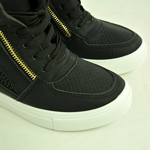 Cucu Fashion 2017 Brand New Womens Trainers Ladies Sneakers Studs Wedge Heel Lace Up Zip Fashion Shoes Size UK 3 4 5 6 7 8 Black RrAFsoN9S