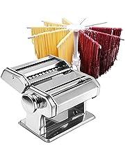 Pasta Maker - Roller Pasta Machine - 2 in 1 Roller met Pasta Snijder - 8 instelbare dikte-instellingen - Zelfgemaakte verse Pasta - Pastamachine, Dubbele snijder, Handslinger, Pasta Hanger Droogrek