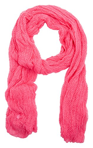 Isaac Mizrahi Womens Lacey Open Knit Oversized Wrap 72x228 (HOT PINK)