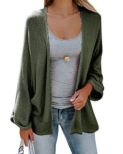 Sherrylily Womens Loose Open Front Kimono Cardigan Cape Long Sleeve Solid Color Sweater Cloak Army Green