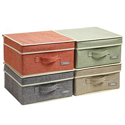 YueYue Small 4 Pack Fabric Stroage Box with Lids, Linen Foldable Stroage Box with lids 4 Color Set 12.4in/12in/6.7in (With Boxes Lids Storage Fancy)