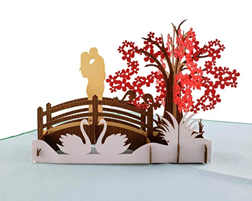 iGifts And Cards Happy 1st Anniversary 3D Pop Up Greeting Card - Marriage, Soulmates, Wedding, Celebration, Memories, Half-Fold, Being Together, Celebrate a Milestone, Congratulations, Romantic, Love