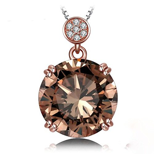 VERA NOVA JEWELRY Delightful 6.05Ct Brown Genuine Smoky Quartz Round-Shape Sterling Silver Pendant Necklace with 18-inch Box Chain (Quartz Smoky Silver Jewelry Box)