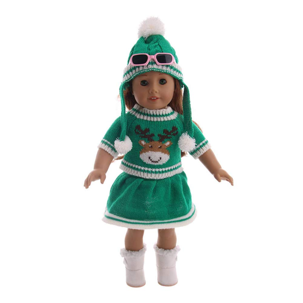 Ocamo Cute Christmas Printing Hat Knit Sweater Skirt Set for 18 Inches Girl Doll Accessories N699 18 inches doll