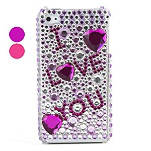 ZCLI LOVE YOU Pattern ,PVC Case with Crystals Cover for iPhone 4, 4S , Pink