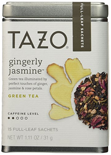 Tazo Gingerly Jasmine Green Tea With Caffeine, 1 Pack with 15 Full-Leaf Sachets - Full Leaf Tazo Tea