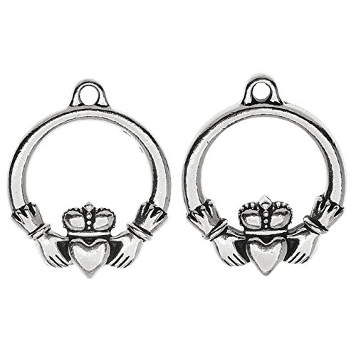 TierraCast Celtic Collection, Claddagh Charm 19.5x24mm, 2 Pieces, Antiqued ()