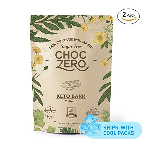 - ChocZero's Keto Bark, Dark Chocolate Peanuts with Sea Salt. Sugar Free, Low Carb. No Sugar Alcohols, No Artificial Sweeteners, All Natural, Non-GMO (2 bags, 6 servings/each)