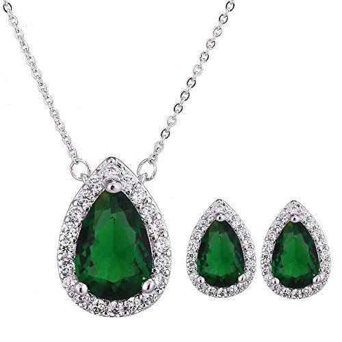 AMYJANE Emerald Jewelry Set for Women - Silver Green Crystal Rhinestone CZ Teardrop Pendant Necklace Earrings Set for Women Bridesmaid Bride Bridal Jewelry May Birthstone Necklace Set 2018 Fashion