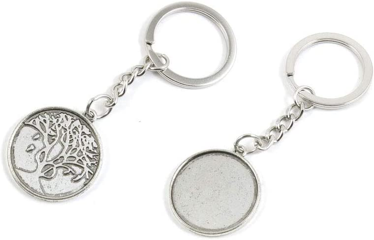 50 PCS Antique Silver Keyrings Keychains Key Ring Chains Tags Clasps Z7JD7 Round Cabochon Base Blank