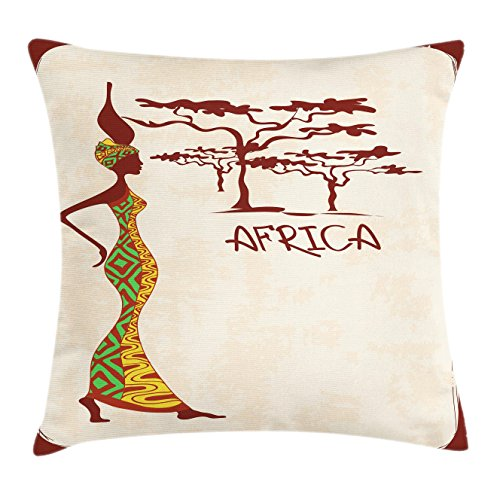 Ambesonne Afro Decor Throw Pillow Cushion Cover by, Vintage Elegance Lady Carrying Pot Native Grace Savannah Exotic Female Graphic, Decorative Square Accent Pillow Case, 18 X 18 Inches, Beige Brown