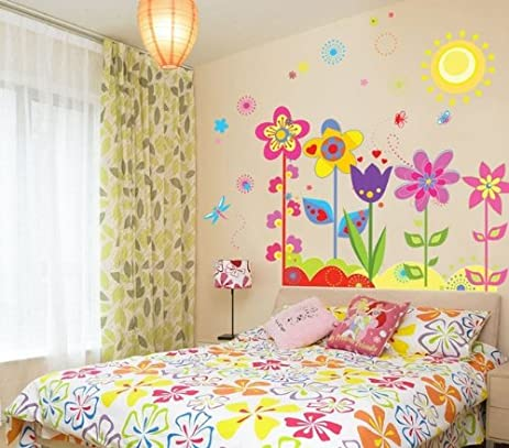 Flower Sun Butterfly Cartoon Children Nursery Kids Room Wall Art ...