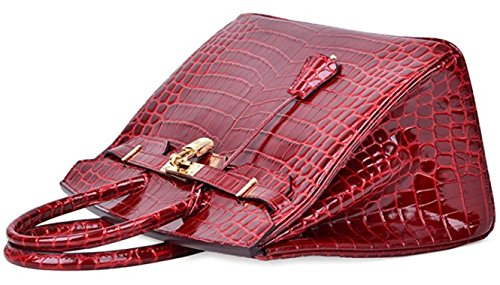 Leather Top Handbags Crocodile Claret Women Handle Bag Padlock SROwqnBU8q