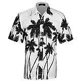 APTRO Men's Colorful Floral Printing Short Sleeved Summer Beach Shirt ST22 White L…