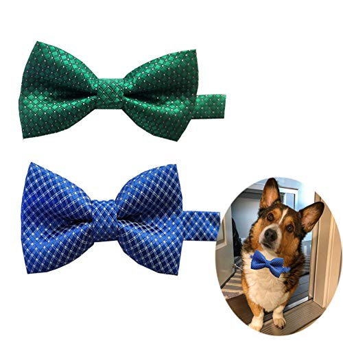 - Itplus2PCS Pet Dog Cat Bow Ties Adjustable Neck Collar Boys Girls Bowknot Necktie for Wedding Party Grooming Accessories for Small Couple Puppys-Blue/Green