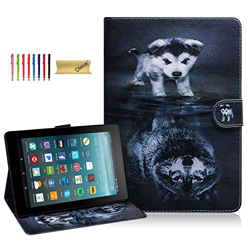 All-New Fire 7 2019 Case, All-New Fire 7 2017 Case, Dteck PU Leather Folio Folding Stand Cover for All-New Amazon Kindle Fire 7 Tablet (7th&9th Generation,2017&2019 Release), Wolf and Dog (Kindle Fire Dog Case)