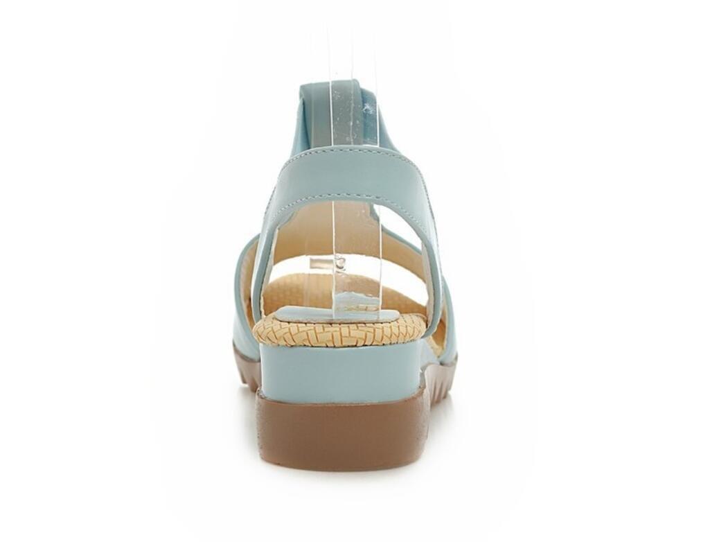 NVLXIE Damen Sandalen Bequeme Sommer Lazy Schuhe Freizeit Bequeme Sandalen Mädchen Rutschfeste Vier Farben 4cm Blau 5aa098