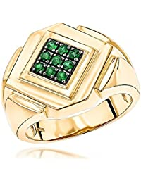 14K White, Rose or Yellow Gold Emerald Mens Ring by Luxurman