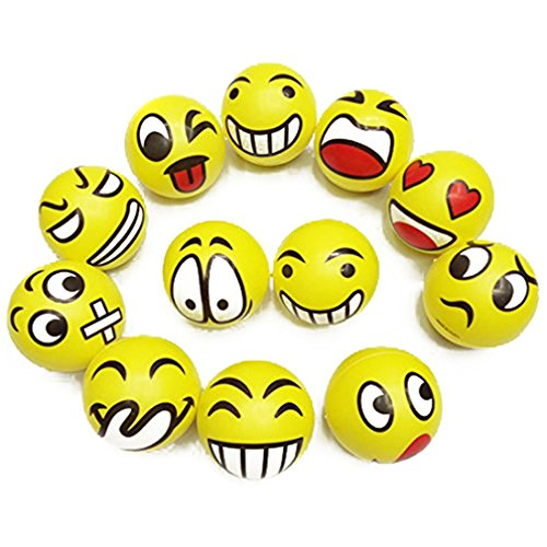 Mini 2.5inch Face Smiley Squeeze Ball Novelty Hand Play Toy for Children Adult Stress Relief Random Color Sent