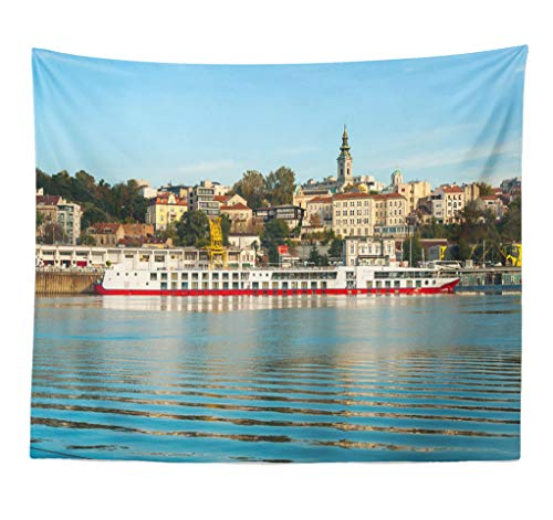 ASOCO Tapestry Wall Hanging River Boat Building Cloud Coast Downtown Famous Fun Greeting Historic Wall Tapestry for Bedroom Living Room Tablecloth Dorm 60