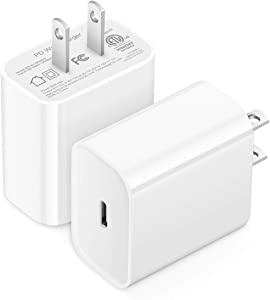 20W USB C Charger for iPhone 12 Fast Charger PD 3.0 Type C Wall Adapter, Compitible with iPhone 12/12 Mini/12 Pro/12 Pro Max, iPad Pro 2020, Google Pixel 5/4/4XL/3, Samsung Galaxy, Kindle (2-Pack)