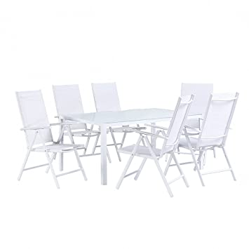 Tavoli Da Giardino Catania.Set Da Giardino In Alluminio Bianco Tavolo Da 160cm Con 6 Sedie