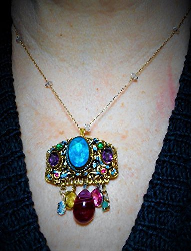 Czech Gems, Medieval Style Dangling Crystals & 13 Czecho Gems Brooch Floral Scrolled Brass Chatelaine, Crystal Gold Plated Necklace Option, -
