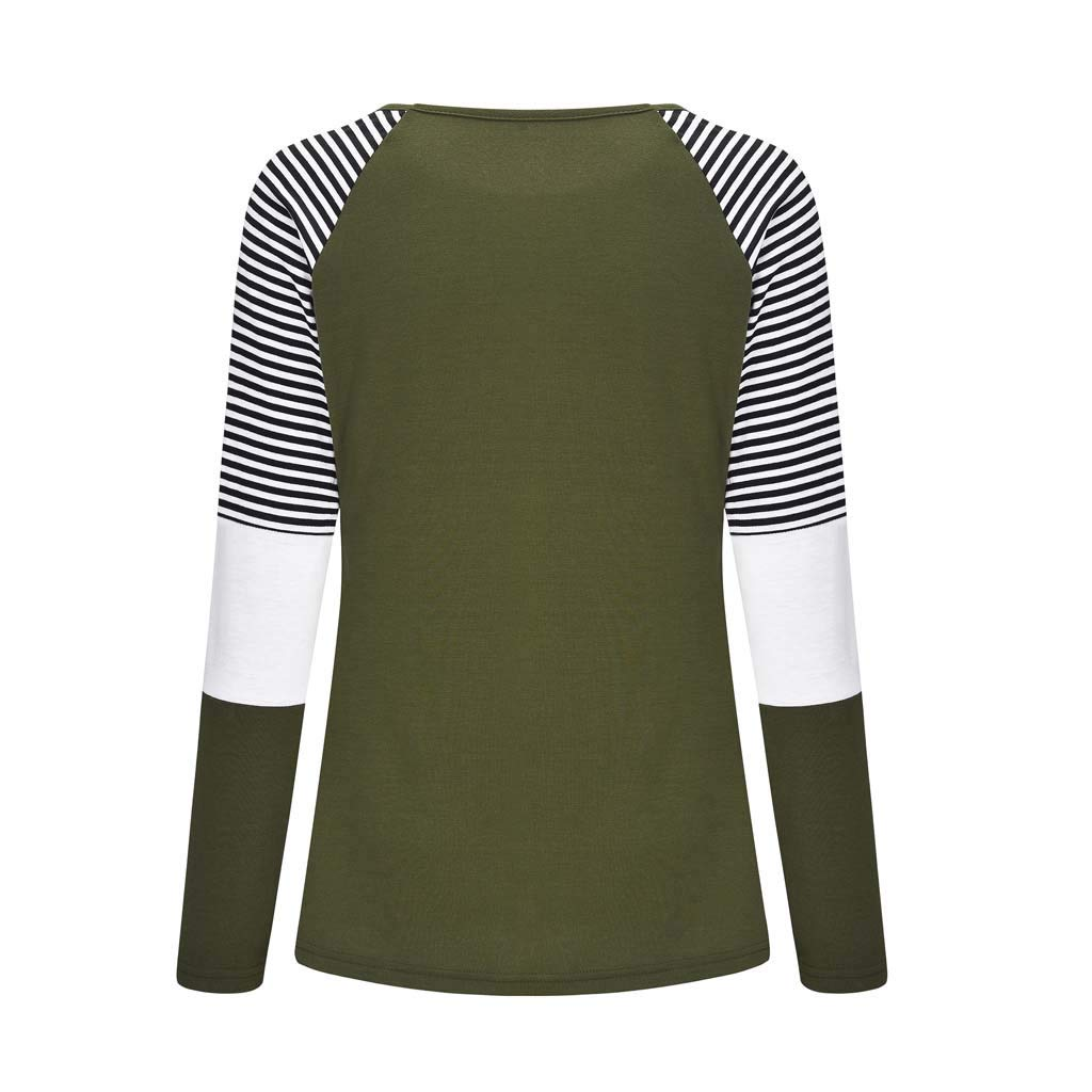 Womens Pregnant Nursing Blouse Maternity Double Layer Breastfeeding Tops Long Sleeve Splicing Stripe Pullover