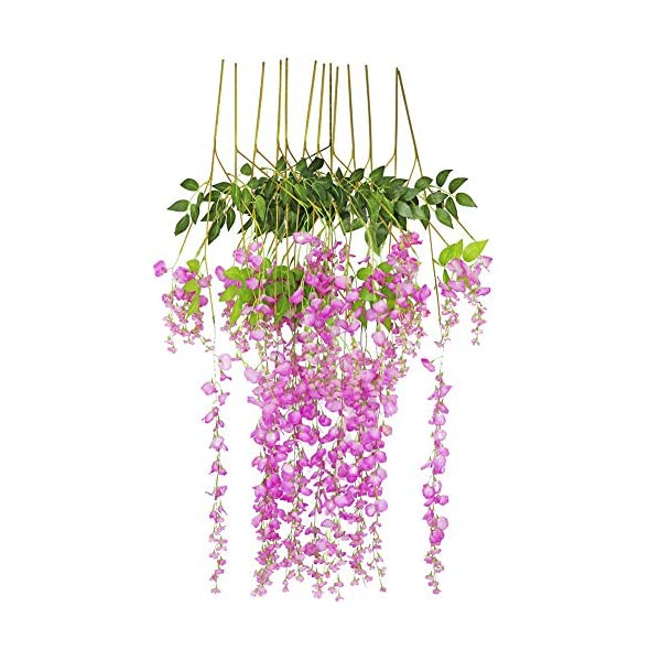 LSME Artificial Fake Wisteria Vine Ratta Long Hanging Flowers String for Wedding Ceremony Arch Decor 12 Pack 3.6 Feet Purple&Red