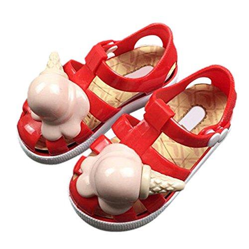 Meijunter Sommer Mädchen Jungen Säugling Eis Lässige Anti-Rutsch Weich Gelee Flache Schuhe Kleinkind Kinder Strand Sandalen Regen Stiefel Rot