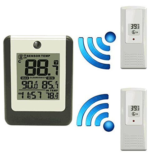 2 Remote Sensors - Ambient Weather WS-16-X2 Wireless 8-Channel Thermometer with Two Remotes and Temperature Alarm