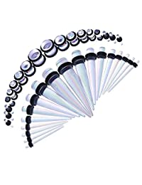 Baoblaze 18 Pieces Acrylic Ear Tapers Plug Set Stretching Expanders Stretchers 14G-00G