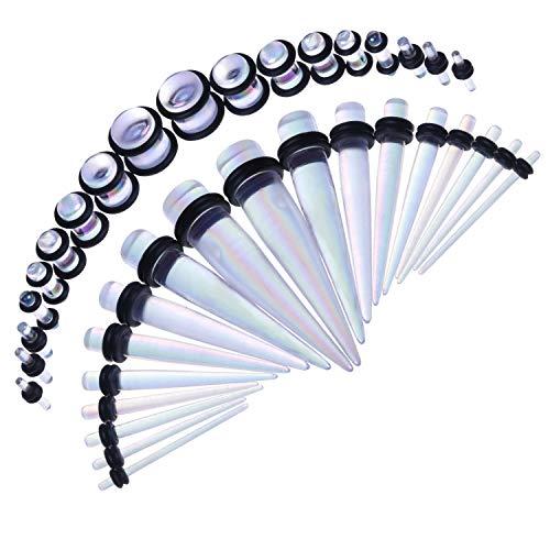 BodyJ4You 36PC Gauges Kit Aurora Acrylic Taper Plug 14G-00G Ear Stretch O-Rings Body Piercing