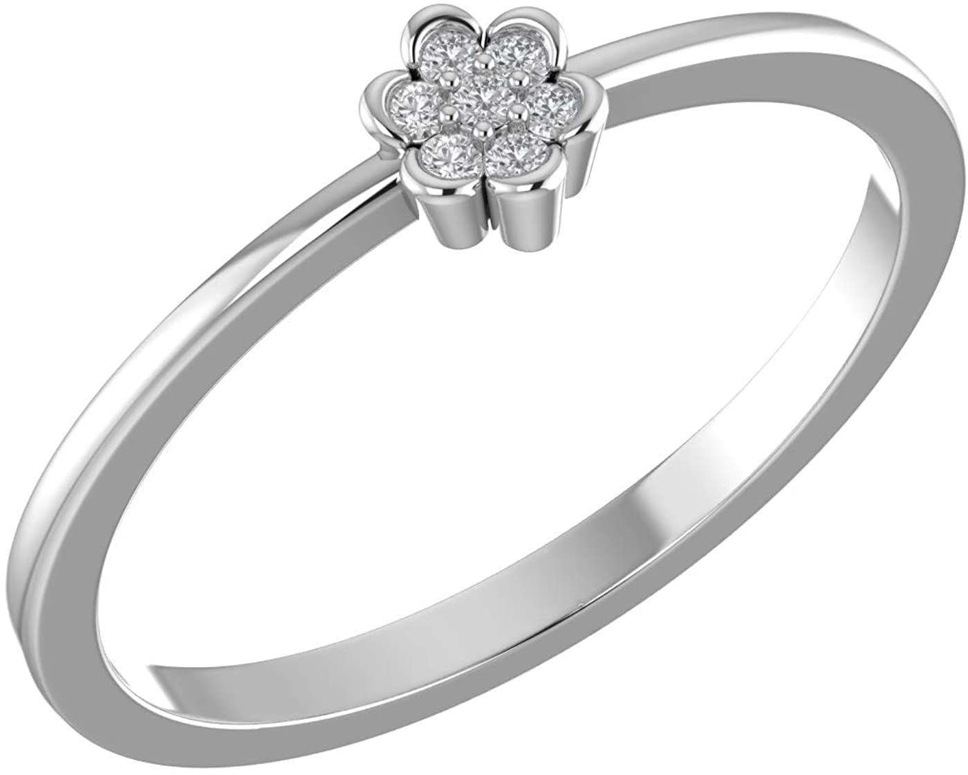 0.05 Ct Natural Diamond Cluster Ring 14K Yellow Gold Over 925 Sterling Silver