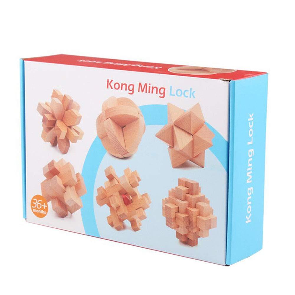 教育玩具 木製 Kong Ming Lu Ban ジグソーパズル 子供 大人 おもちゃ ギフト 頭の体操   B07K6D3FXD