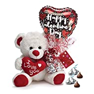 Valentine's Day Teddy Bear with Hershey's Chocolate Kisses and Heart Balloon (Red)