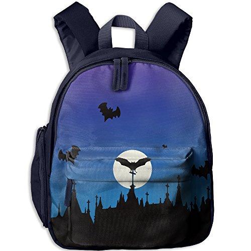 Toddler Pre School Backpack Boy&girl's Halloween Bat Moon Book Bag -