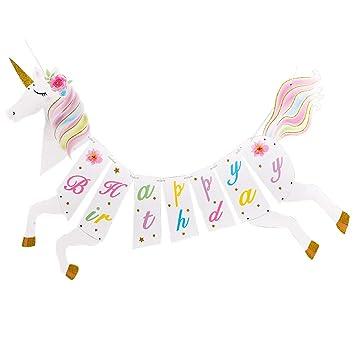 WERNNSAI Unicornio Cumpleaños Banner- Unicornio Magico Tema ...