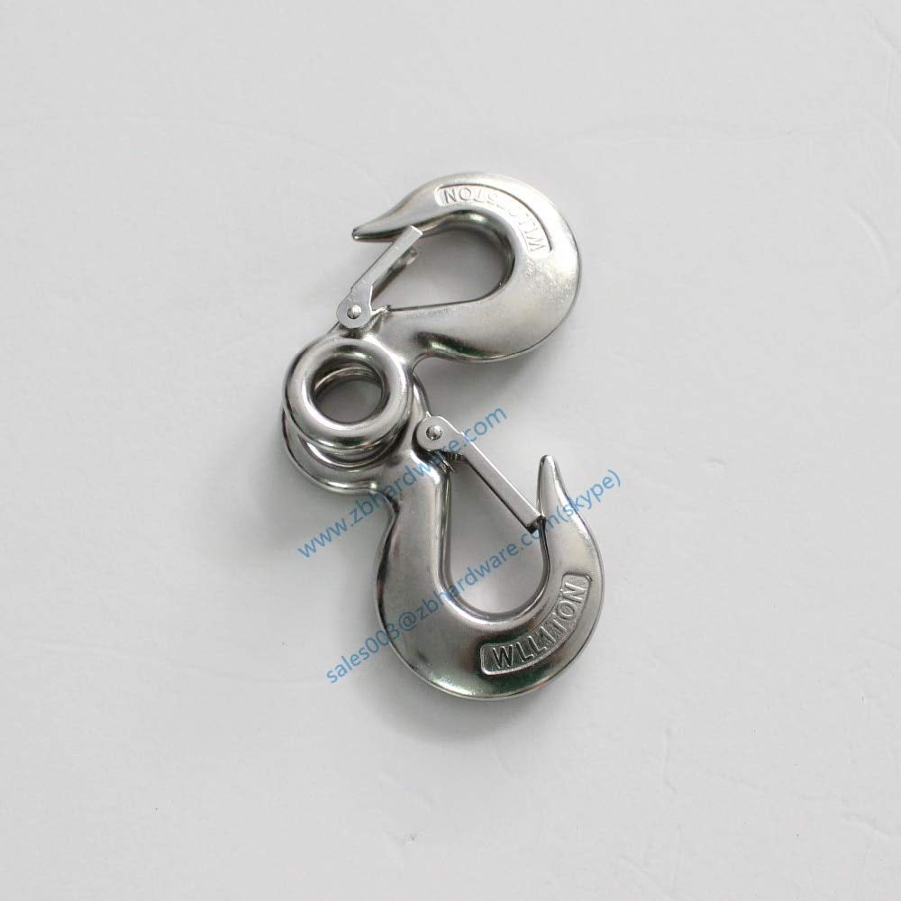 Ochoos 3Ton Safety Working Load Stainless Steel 320 Eye Sling Hook with Latch Industrial Grade Lifting Rigging Hardware Hoist Hook