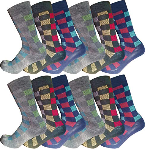 12 Pairs of Mens Dress Socks Colorful Fun Patterned Casual Crew Office Party Gift (Checkered)