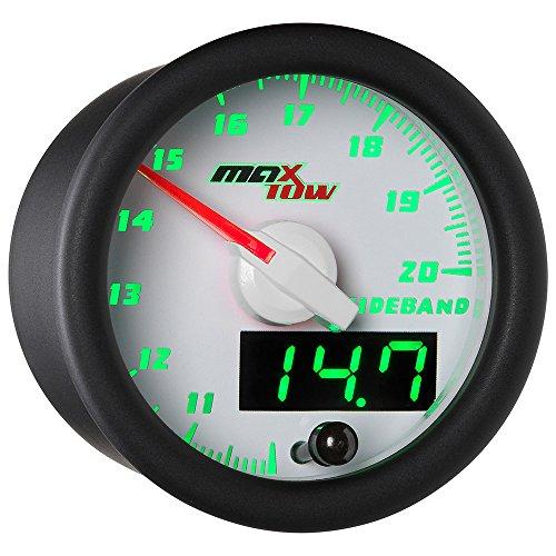 MaxTow White & Green Wideband Air/Fuel Ratio Gauge with Oxygen Sensor & Data Logging ()