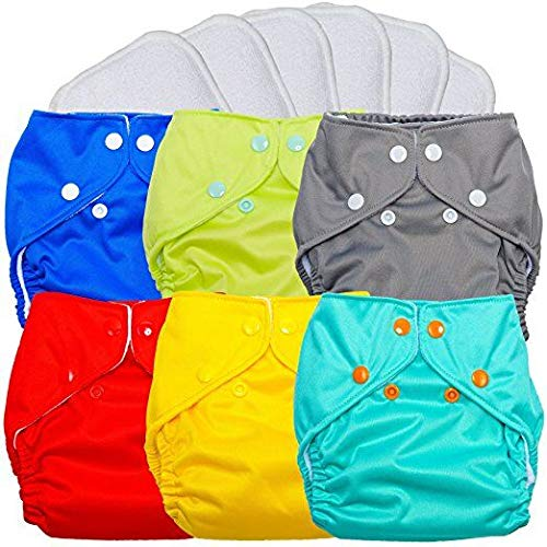 FuzziBunz All in One Diaper 6 Pack Bundle Pocket Cloth Diapers with Insert Sewn in (Solids, All in One)