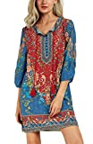 Urban CoCo Women Bohemian Neck Tie Vintage Printed Ethnic Style Summer Shift Dress (Small, Pattern 2)