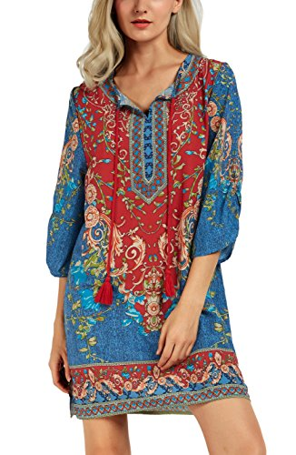 (Women Bohemian Neck Tie Vintage Printed Ethnic Style Summer Shift Dress (Medium, Pattern 2))