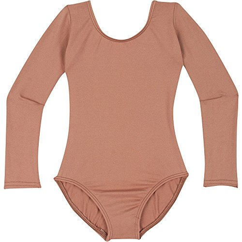 Nylon Onesie - Infant Baby Girl Leotard for Dance, Gymnastics and Ballet with Long Sleeve Suntan T (12-24M)
