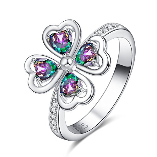 - Veunora 925 Sterling Silver 4x4mm Heart Cut Rainbow Topaz Filled Four Leaf Clovers Lucky Ring Size 6