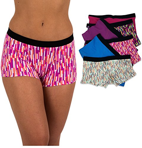 Sexy Basics Women's 6 Pack Modern Active Boy Short Boxer Brief Panties (6 Pack- Static Paradise, X-Small)
