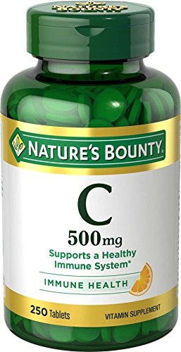 Nature's Bounty Vitamin C, 500mg, 250 Tablets, Vitamin Supplement for Immune System Support(1), Antioxidant(1), Gluten Free, (500 Mg Supplement)